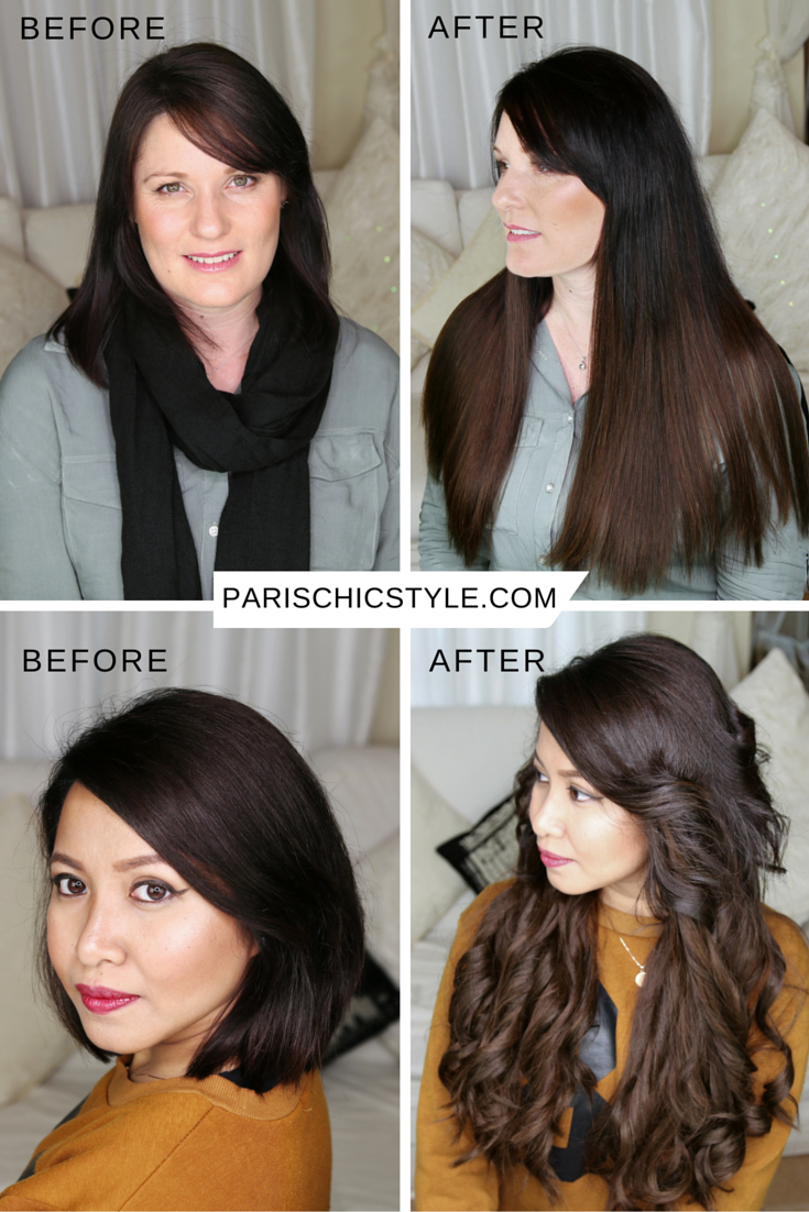 Clip-In Hair Extensions Before and After