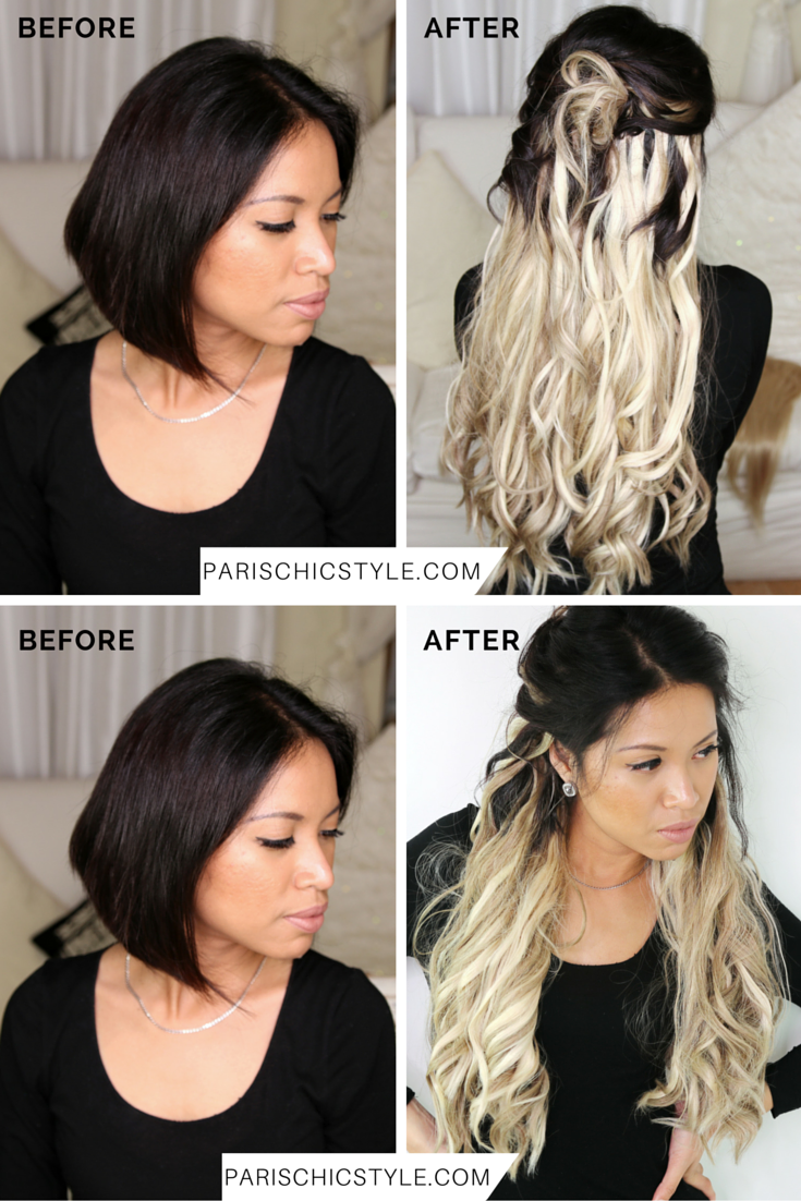 Sheila Before and After Chicsy Hair Paris Chic Style Clip-In Hair Extensions Light Ash Blonde and Dirty Blonde 2 (1)