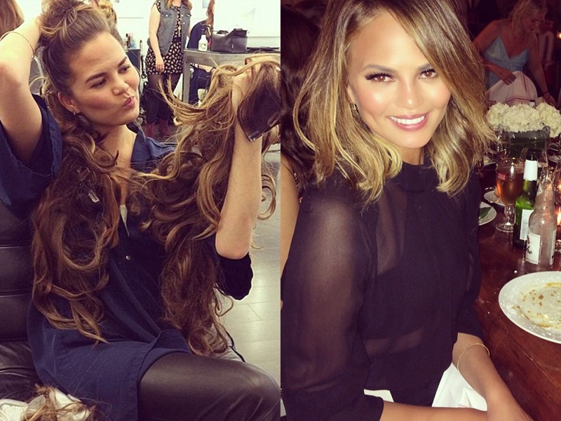 Celebrities Before And After Hair Extensions chrissy