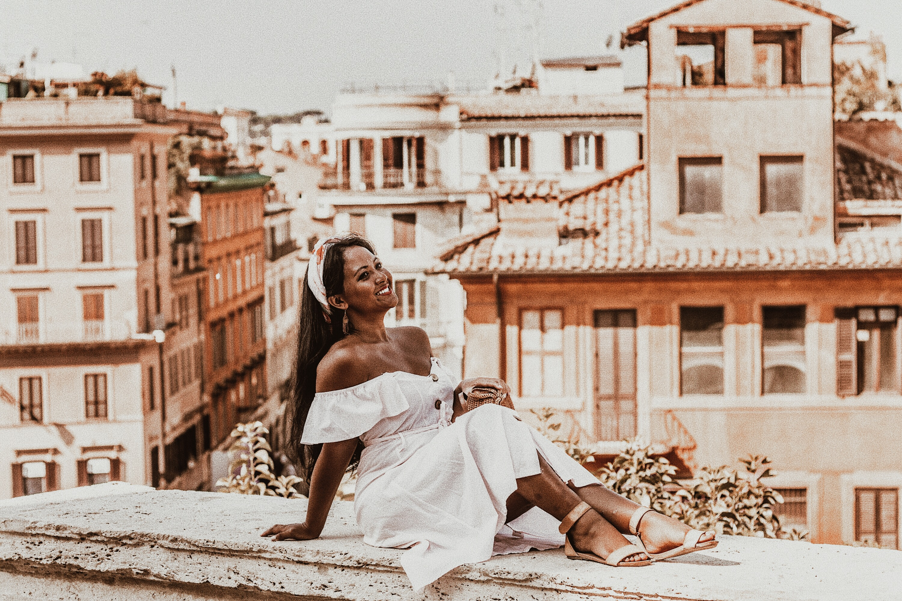 Marjolyn Lago Marj How-To-Wear-Off-Shoulder-Dress-Light-Blush-Pink-Button-Down-Dress-Rattan-Straw-Basket-Bag-Flat-Sandal-Headwrap-Paris-Chic-Style-Fashion-Lookbook-Street-Style-ootd Outfit Of The Day-Rome-Italy-3