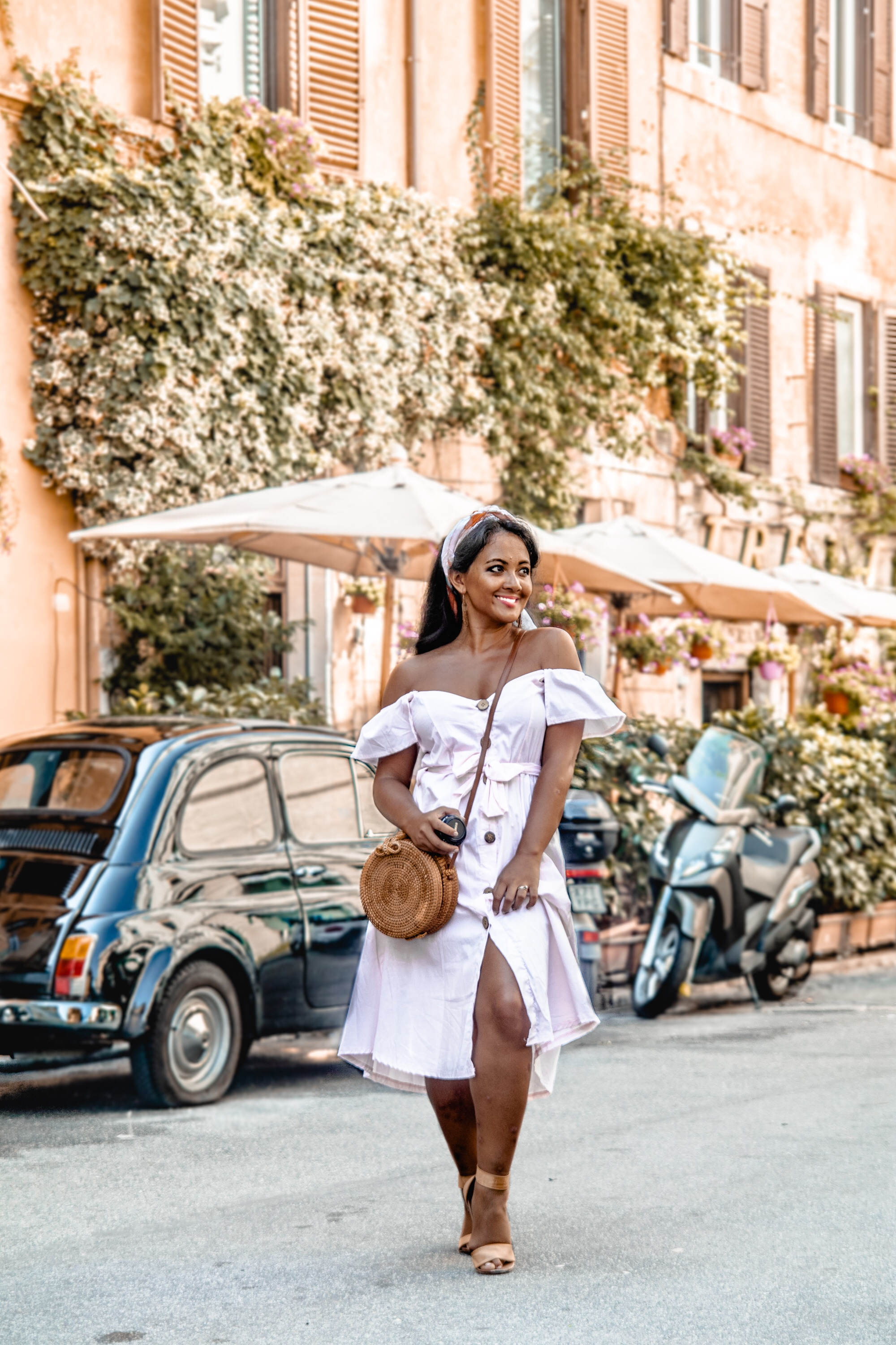 Marjolyn Lago Marj How To Wear Off Shoulder Dress Light Blush Pink Button Down Dress Rattan Straw Basket Bag Flat Sandal Headwrap Paris Chic Style Fashion Lookbook Street Style ootd Outfit Of The Day 4