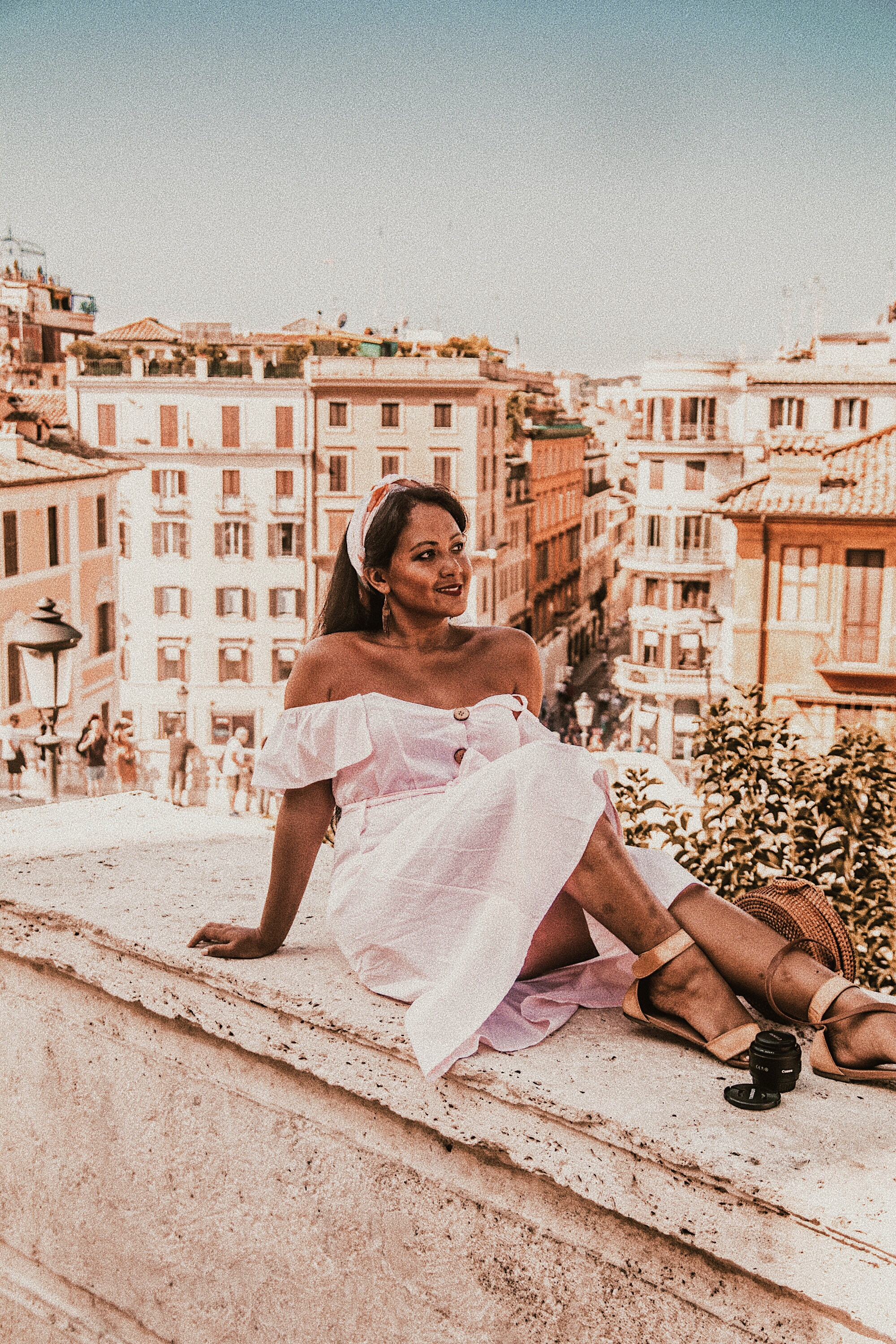 How-To-Wear-Off-Shoulder-Dress-Light-Blush-Pink-Button-Down-Dress-Rattan-Straw-Basket-Bag-Flat-Sandal-Headwrap-Paris-Chic-Style-Fashion-Lookbook-Street-Style-Rome-Italy-5