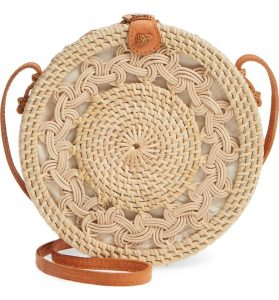 How To Wear Off Shoulder Dress With Woven Rattan Circle Straw Bags Paris Chic Style 2