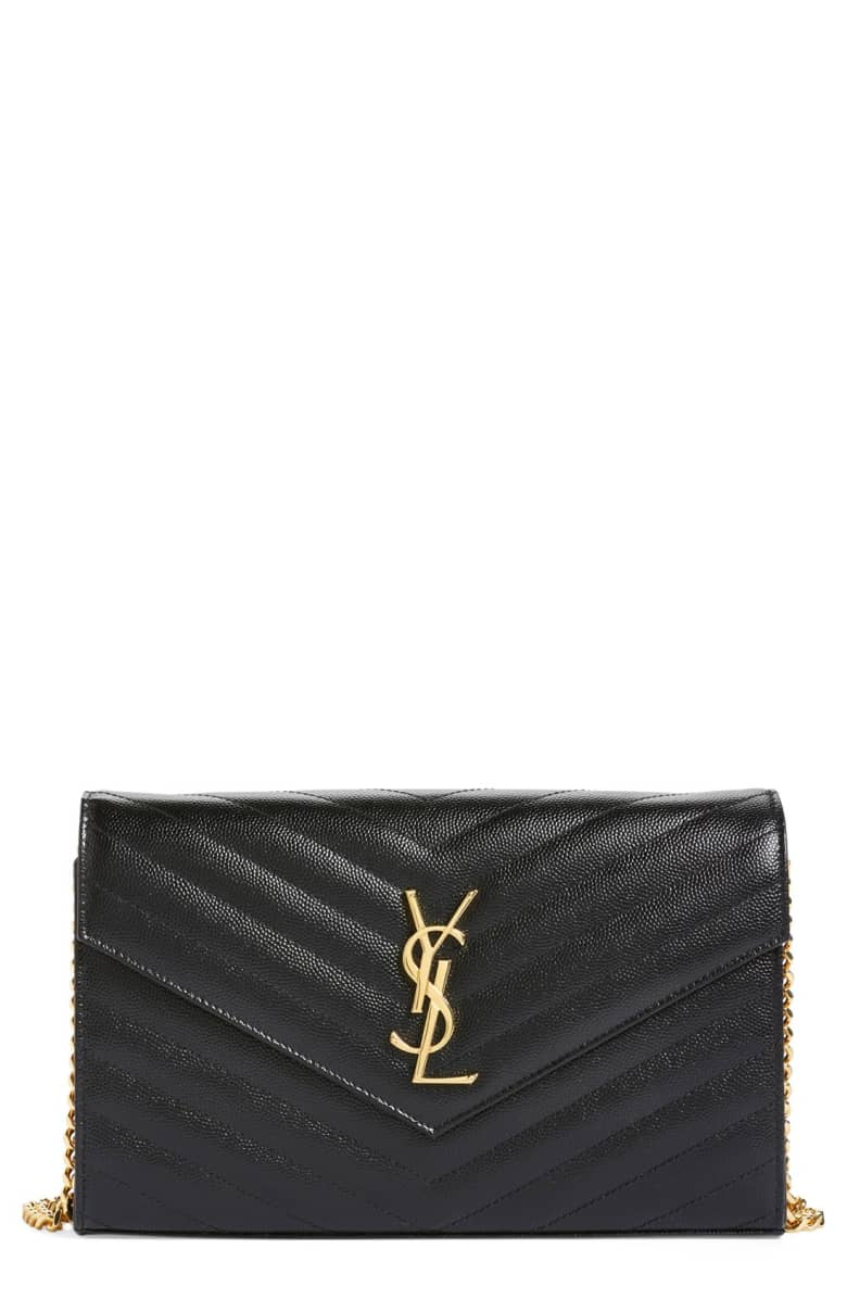 Best Crossbody Bags For A Red Dress Large Monogram' Quilted Leather Wallet on a Chain SAINT LAURENT Paris Chic Style 2