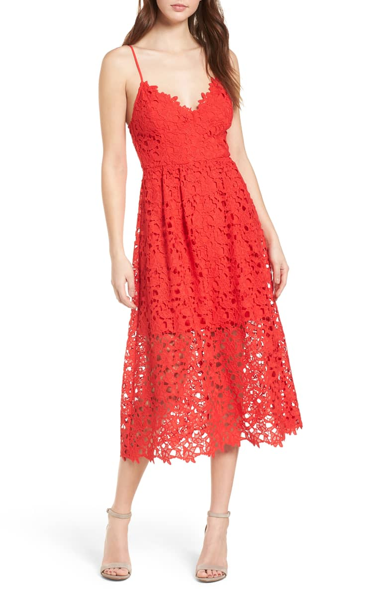 Best Red Dress How To Wear A Red Dress Lace Midi Dress ASTR THE LABEL Paris Chic Style 5