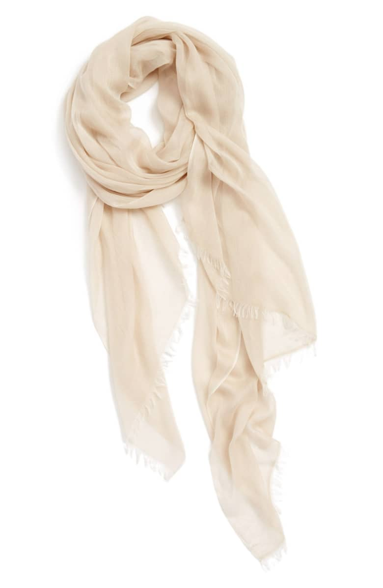 Best Scarf For Dresses Modal Silk Blend Scarf NORDSTROM Paris Chic Style 4