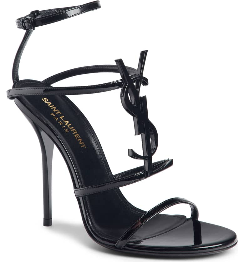 What Color Shoes To Wear With A Red Dress Black Shoes With A Red Dress Cassandra YSL Strappy Sandal SAINT LAURENT Paris Chic Style 2