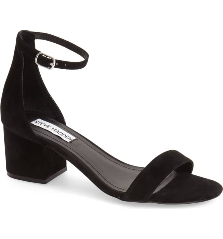 What Color Shoes To Wear With A Red Dress Black Shoes With A Red Dress Irenee Ankle Strap Sandal STEVE MADDEN Paris Chic Style 1