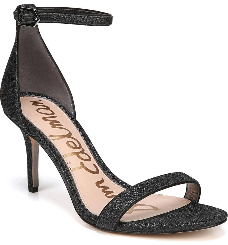 What Color Shoes To Wear With A Red Dress Black Shoes With A Red Dress Patti' Ankle Strap Sandal SAM EDELMAN Paris Chic Style 5