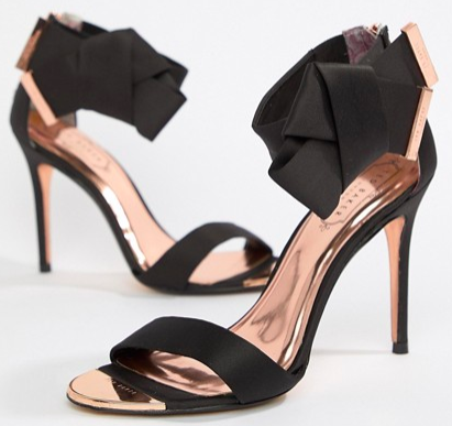What Color Shoes To Wear With A Red Dress Black Shoes With A Red Dress Ted Baker Black Satin Bow Detail Heeled Sandals Paris Chic Style 4