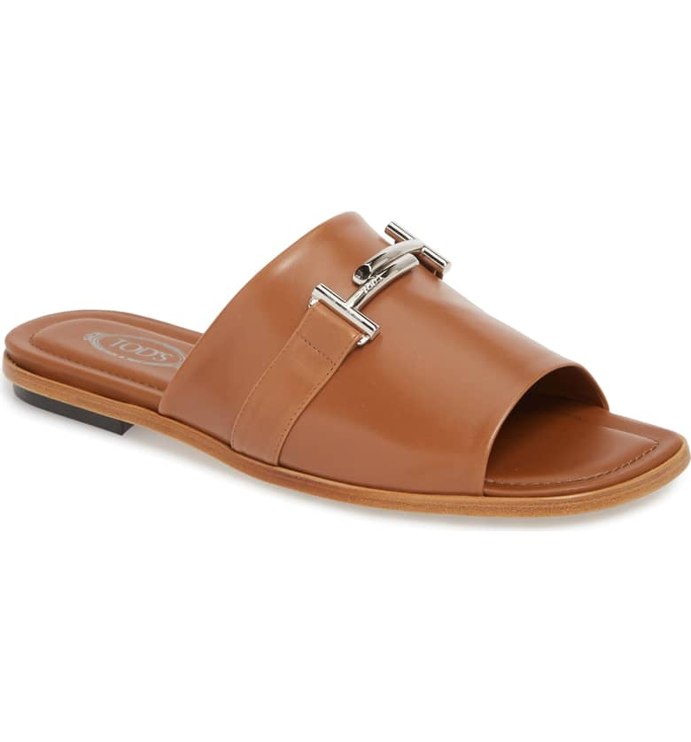 What Color Shoes To Wear With A Red Dress Brown Shoes Double-T Slide Sandal TOD'S Paris Chic Style 3