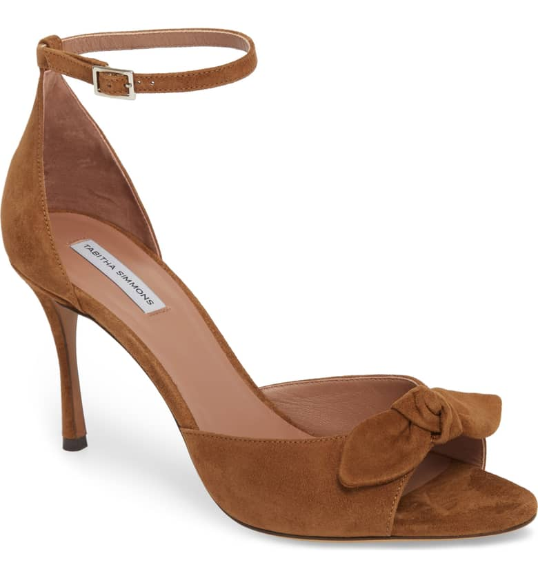 What Color Shoes To Wear With A Red Dress Brown Shoes Mimmi Bow Ankle Strap Sandal TABITHA SIMMONS Paris Chic Style 7