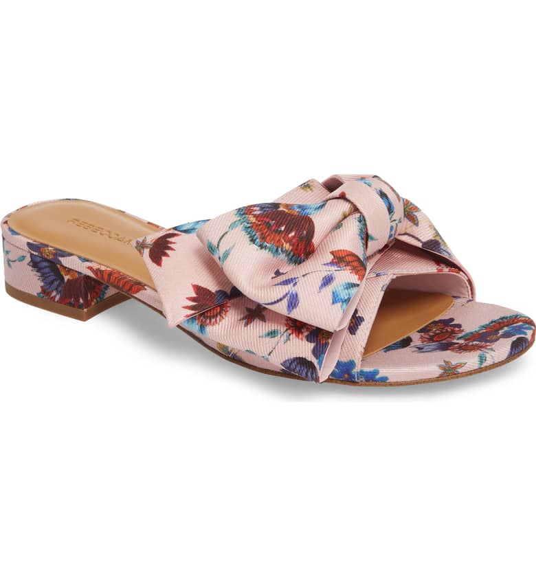 What Color Shoes To Wear With A Red Dress Floral Shoes Calista Slide Sandal REBECCA MINKOFF Paris Chic Style 5