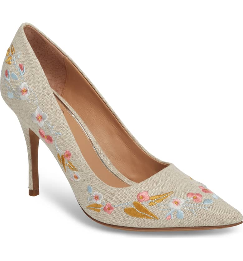 What Color Shoes To Wear With A Red Dress Floral Shoes Paisley Embroidered Pump LINEA PAOLO Paris Chic Style 2