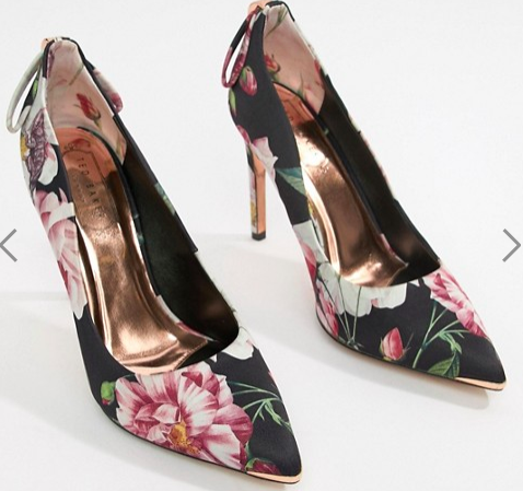 What Color Shoes To Wear With A Red Dress Floral Shoes Ted Baker Floral Heeled Court Shoes Paris Chic Style 1