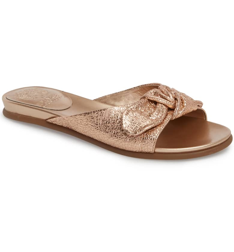 What Color Shoes To Wear With A Red Dress Gold Shoes Ejella Slide Sandal VINCE CAMUTO Paris Chic Style 7