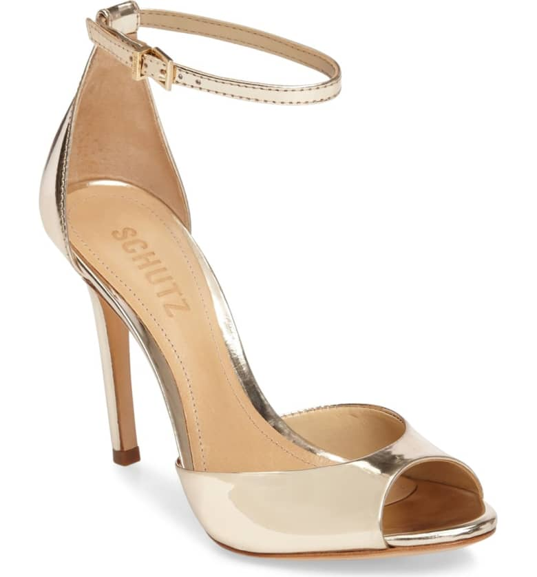 What Color Shoes To Wear With A Red Dress Gold Shoes Saasha Lee Ankle Strap Sandal Paris Chic Style 4