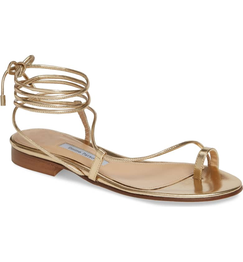 What Color Shoes To Wear With A Red Dress Gold Shoes Susan Ankle Tie Sandal EMME PARSONS Paris Chic Style 9