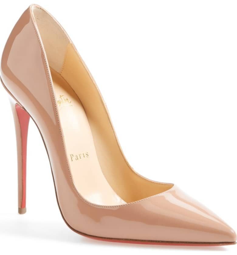 What Color Shoes To Wear With A Red Dress Nude Beige Blush Shoes So Kate Pointy Toe Pump CHRISTIAN LOUBOUTIN Paris Chic Style 3
