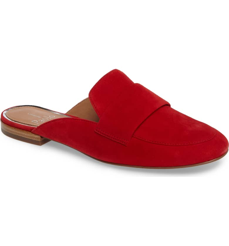 What Color Shoes To Wear With A Red Dress Red Shoes Annie Loafer Mule LINEA PAOLO Paris Chic Style 5
