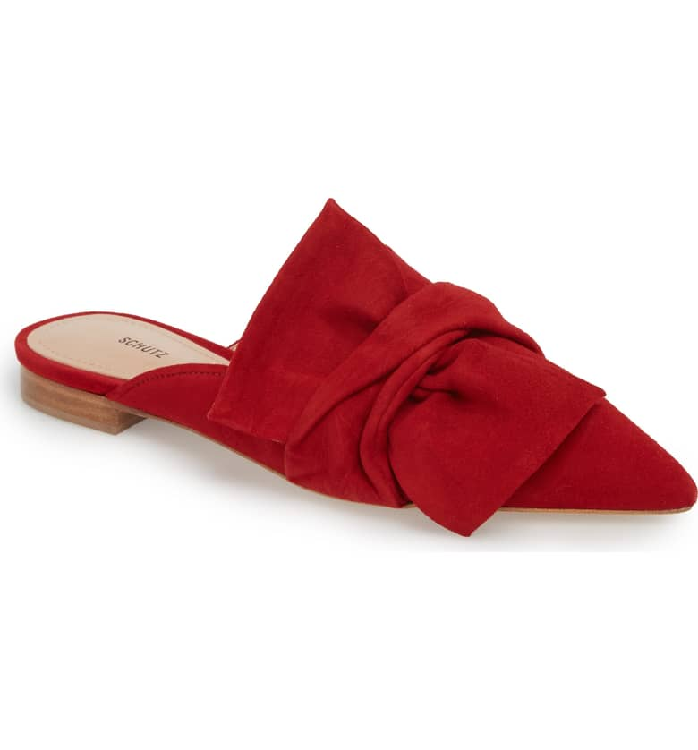 What Color Shoes To Wear With A Red Dress Red Shoes D'Ana Knotted Loafer Mule SCHUTZ Paris Chic Style 9