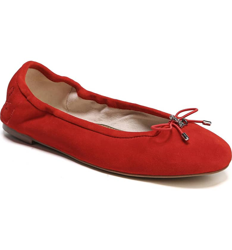 What Color Shoes To Wear With A Red Dress Red Shoes Felicia Flat SAM EDELMAN Paris Chic Style 7