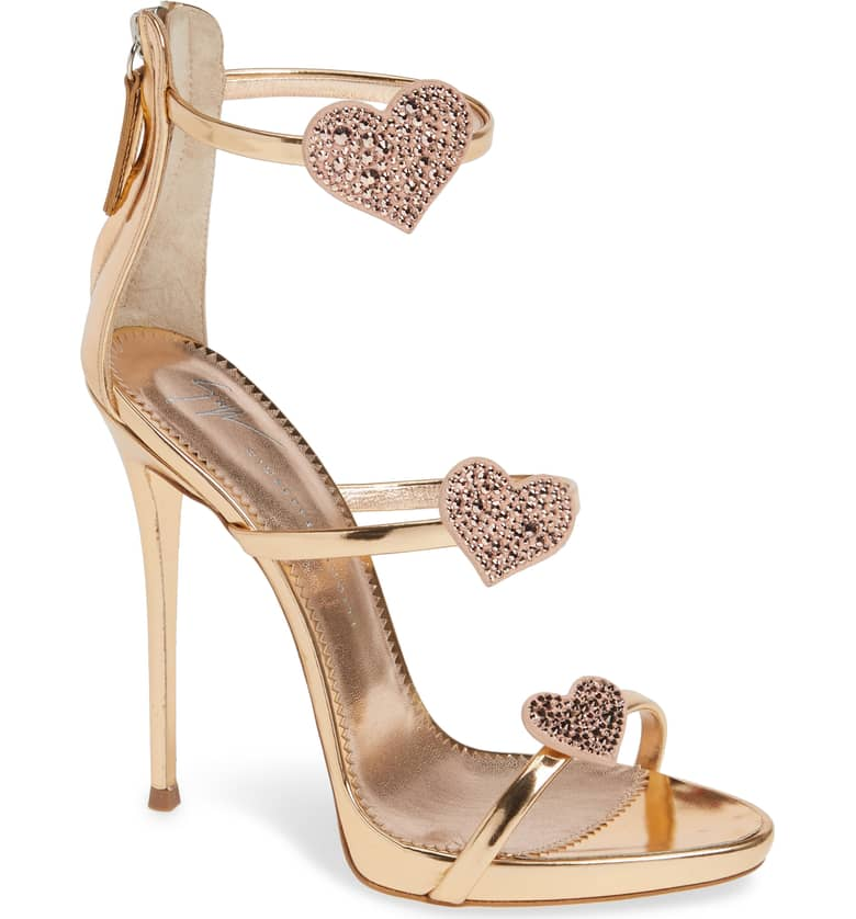 What Color Shoes To Wear With A Red Dress Rose Gold Heels Triple Heart Strappy Sandal GIUSEPPE ZANOTTI Paris Chic Style 6