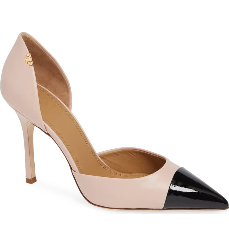 What Color Shoes To Wear With A Red Dress Two Tone Mixed Color Shoes Penelope Cap Toe d'Orsay Pump TORY BURCH Paris Chic Style 3
