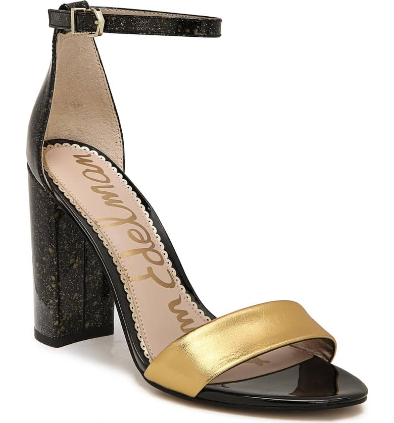 What Color Shoes To Wear With A Red Dress Two Tone Mixed Color Shoes Yaro Ankle Strap Sandal SAM EDELMAN Paris Chic Style 1