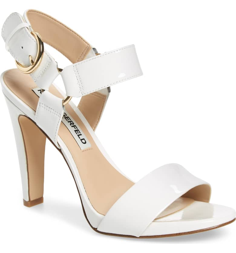 What Color Shoes To Wear With A Red Dress White Shoes Cieone Sandal KARL LAGERFELD Paris Chic Style 11