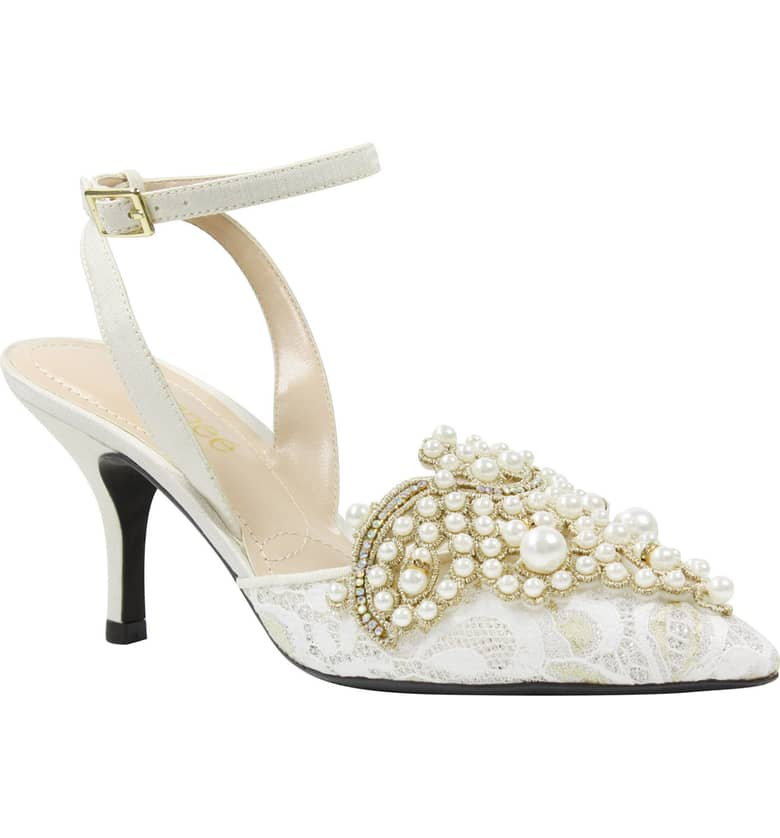 What Color Shoes To Wear With A Red Dress White Shoes Desdemona Embellished Pump J. RENEÉ Paris Chic Style 7