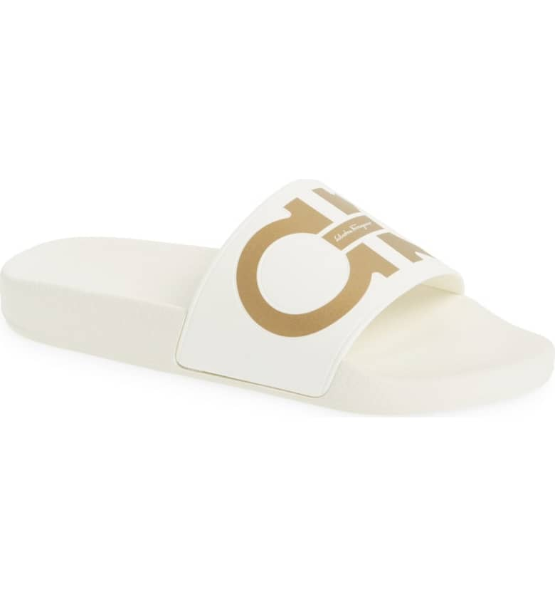 What Color Shoes To Wear With A Red Dress White Shoes Groove Logo Slide Sandal SALVATORE FERRAGAMO Paris Chic Style 6