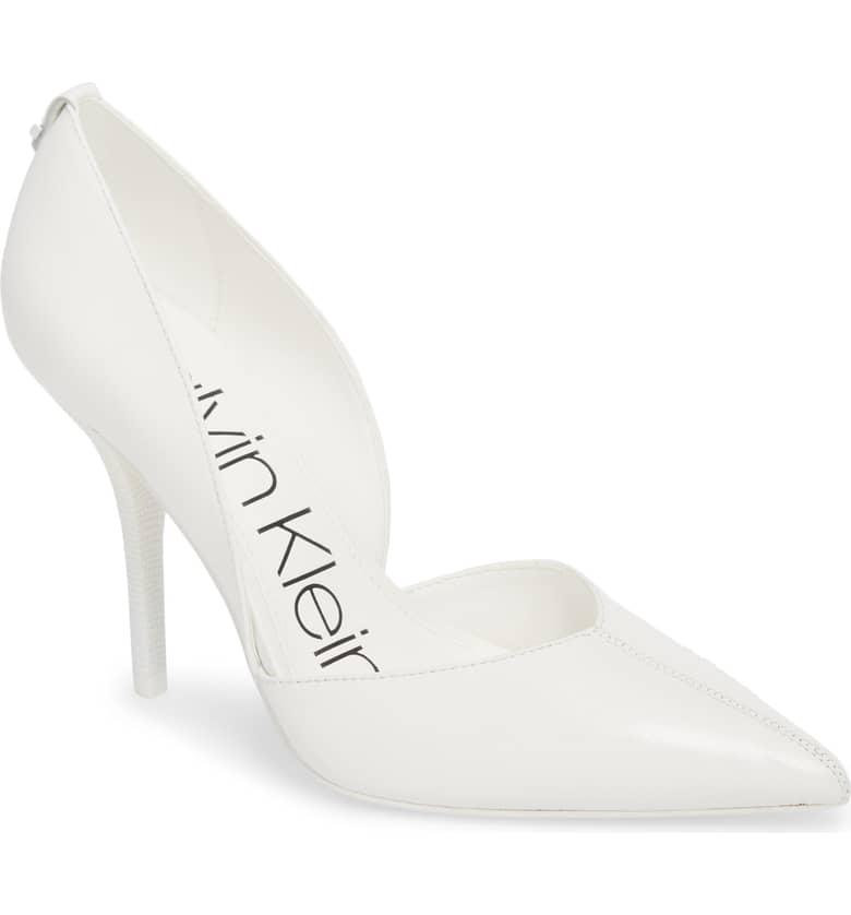 What Color Shoes To Wear With A Red Dress White Shoes Marybeth d'Orsay Pump CALVIN KLEIN Paris Chic Style 12