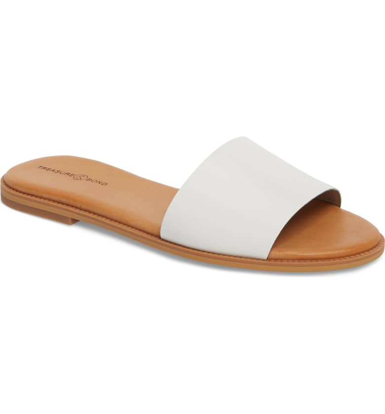 What Color Shoes To Wear With A Red Dress White Shoes Mere Flat Slide Sandal TREASURE & BOND Paris Chic Style 5