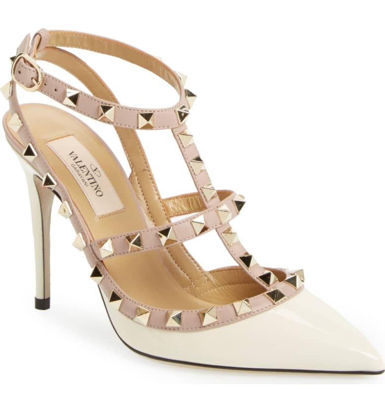 What Color Shoes To Wear With A Red Dress White Shoes Rockstud T-Strap Pump VALENTINO GARAVANI Paris Chic Style 9