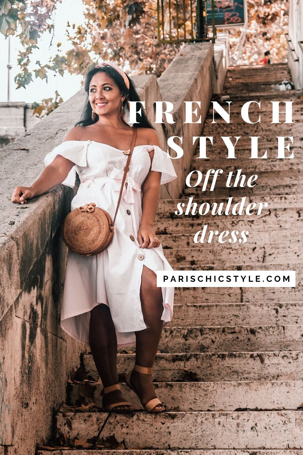French Style Off The Shoulder Dresses From France Rome Italy Street Style Wear Parisian Outfit Paris Chic Style