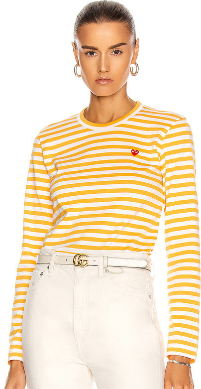 French Yello Stripe Tops Outfit Paris Chic Style