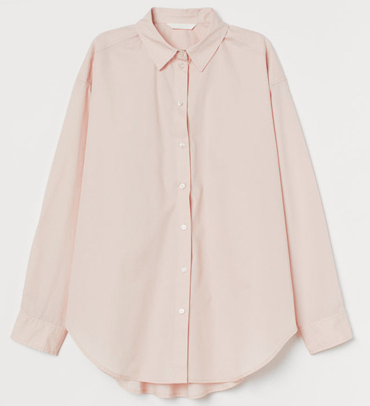 Parisian French Style Nude Shirt Button Down Long Sleeve Paris Chic Style