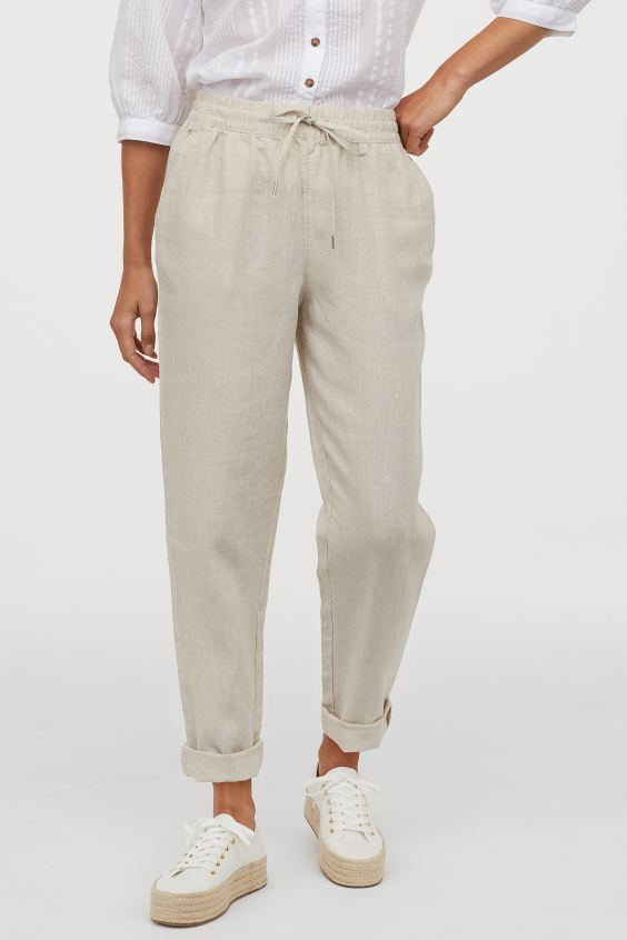 Nude Linen Sweatpants For Women Joggers Trackpants For Going Out Walking Training Chic Sweatpants H&M Paris Chic Style
