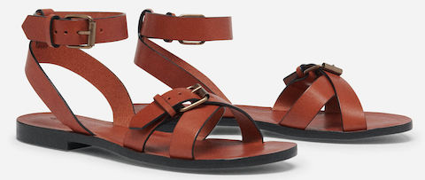 Ba&sh Comfortable Stylish Brown Flat French Sandals For Work, Parties, Walking Everyday Parisian Streetstyle Shoes Paris Chic Style