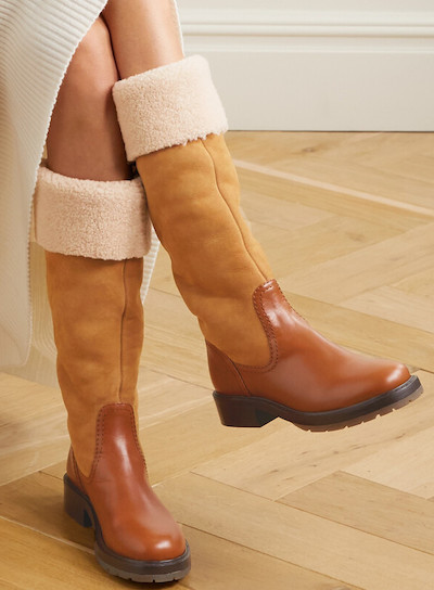 Chloe Sherling Suede Knee High Parisian Boots For Winter Work Walking Sightseeing Travel Street Style Paris Chic Style