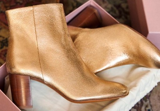 Sezane Paris Fashion Gold French Ankle Boots For Walking Work Travel Sightseeing Parisian Streetstyle Paris Chic Style