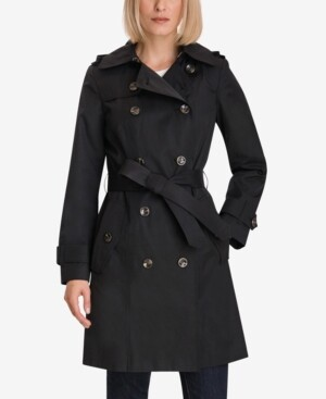 London Fog Petite Double Breasted Trench Coat French Trench Coat For Fall Winter Paris Chic Style