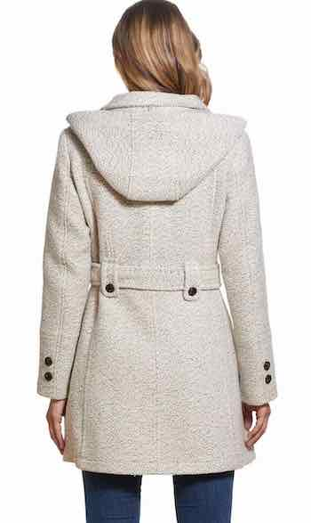 Soft Warm Belted Hood Wool Peacoat Best Warm Coat For Travel Sightseeing Street Style Work Paris Chic Style