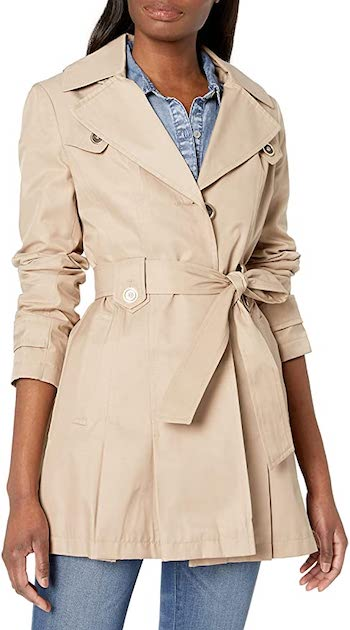 Via Spiga's Single-Breasted Belted Short Trench Coat For Petite Women With A Hood Paris Chic Style